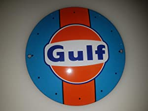Classic Gulf Racing Blue-Orange Porcelain Enamel Door Sign EMAILLE! 4 INCH = 12cm! Weight 0.22lb!! Replica!