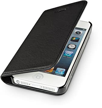 huge discount 01d8f da9b8 WIIUKA Genuine Leather Case TRAVEL NATURE Apple iPhone 5 / 5S / SE  GERMAN-LEATHER Premium Wallet Slim Black Design Cover with Card Holder and  Stand ...
