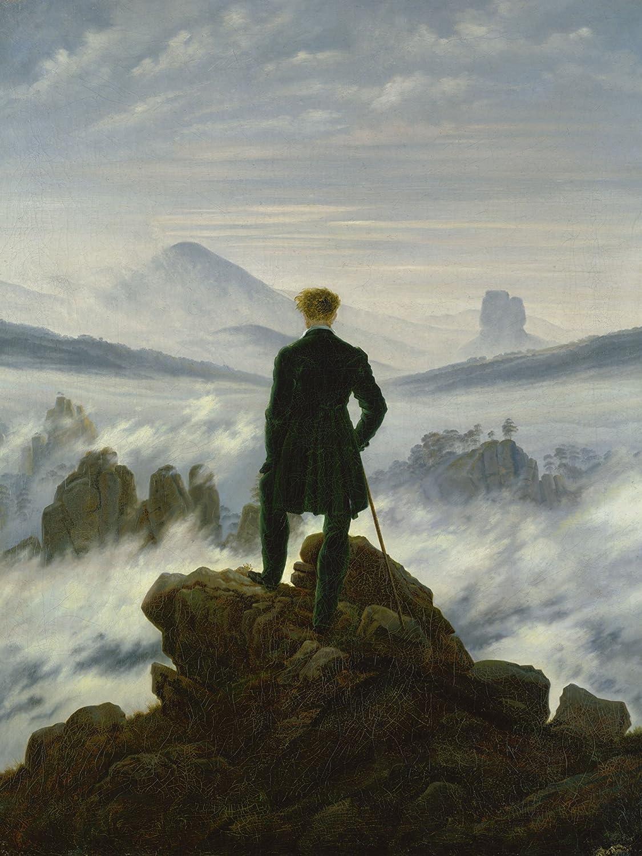 Artland Qualitätsbilder I Bild auf Leinwand Leinwandbilder Wandbilder 60 x 80 cm  Herrenchen Mann Malerei Blau A1ZJ Der Wanderer über dem Nebelmeer