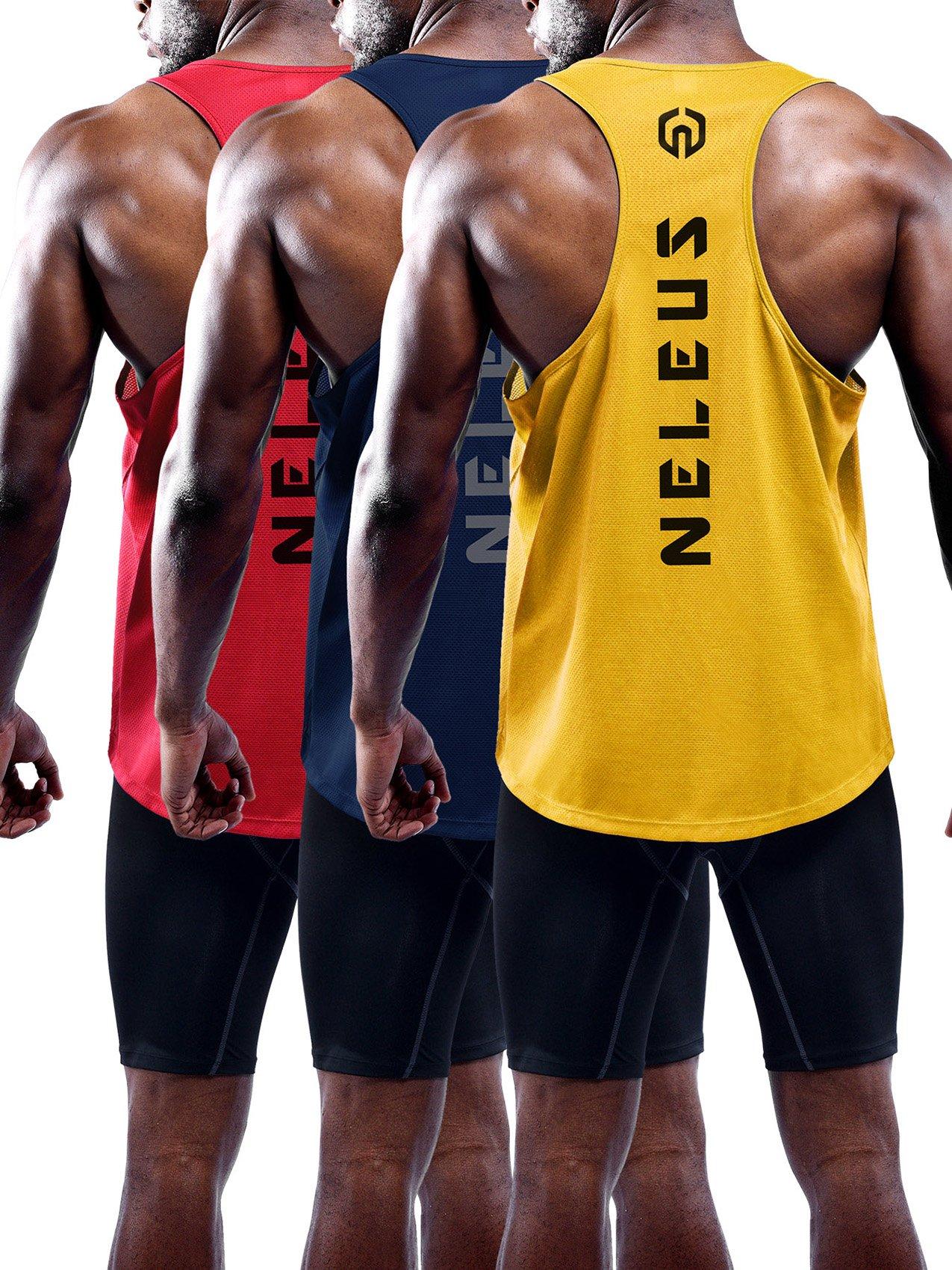 Neleus Men's 3 Pack Dry Fit Athletic Muscle Tank