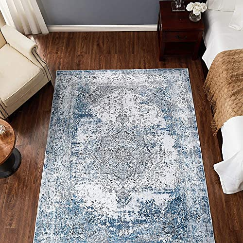 jinchan Blue Vintage Traditional Area Rug for Kitchen Floorcover Soft Floral Printed Indoor Low Pile Mat for Bedroom Living Room 4 x 6 7