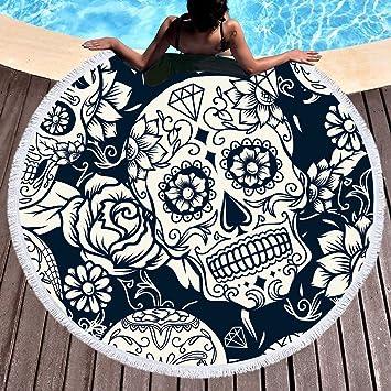 Calavera Cráneo Flores Toalla de playa grande redondo microfibra toalla de playa hippie bohemio playa manta Toalla 150 cm: Amazon.es: Hogar