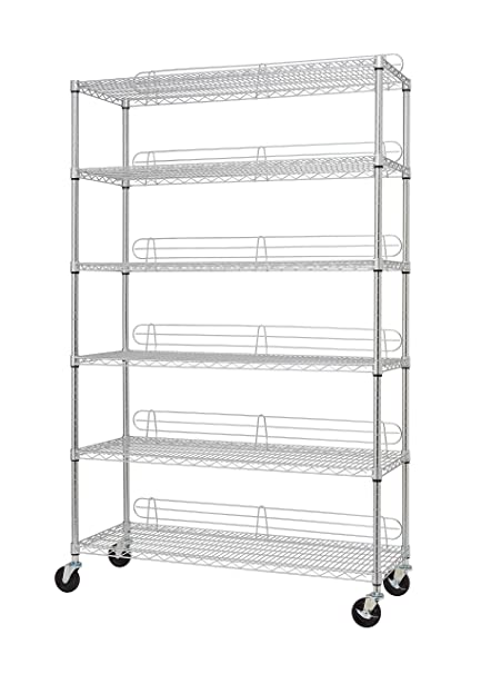 Wire Shelving Costco   Trinity Ecostorage 6 Tier Nsf Wire Shelving Rack With Wheels 48 By
