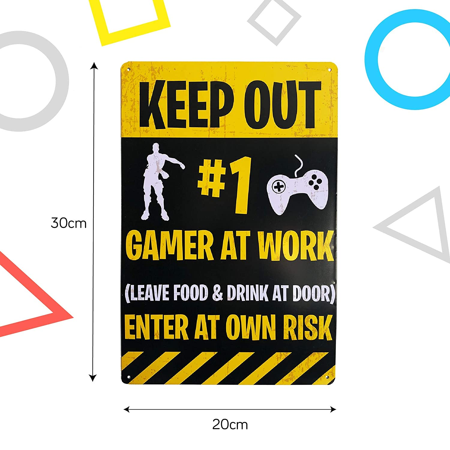 KEEP OUT GAMER AT PLAY METAL TEENAGER BEDROOM DOOR SIGN GAMING CONSOLE BOYS