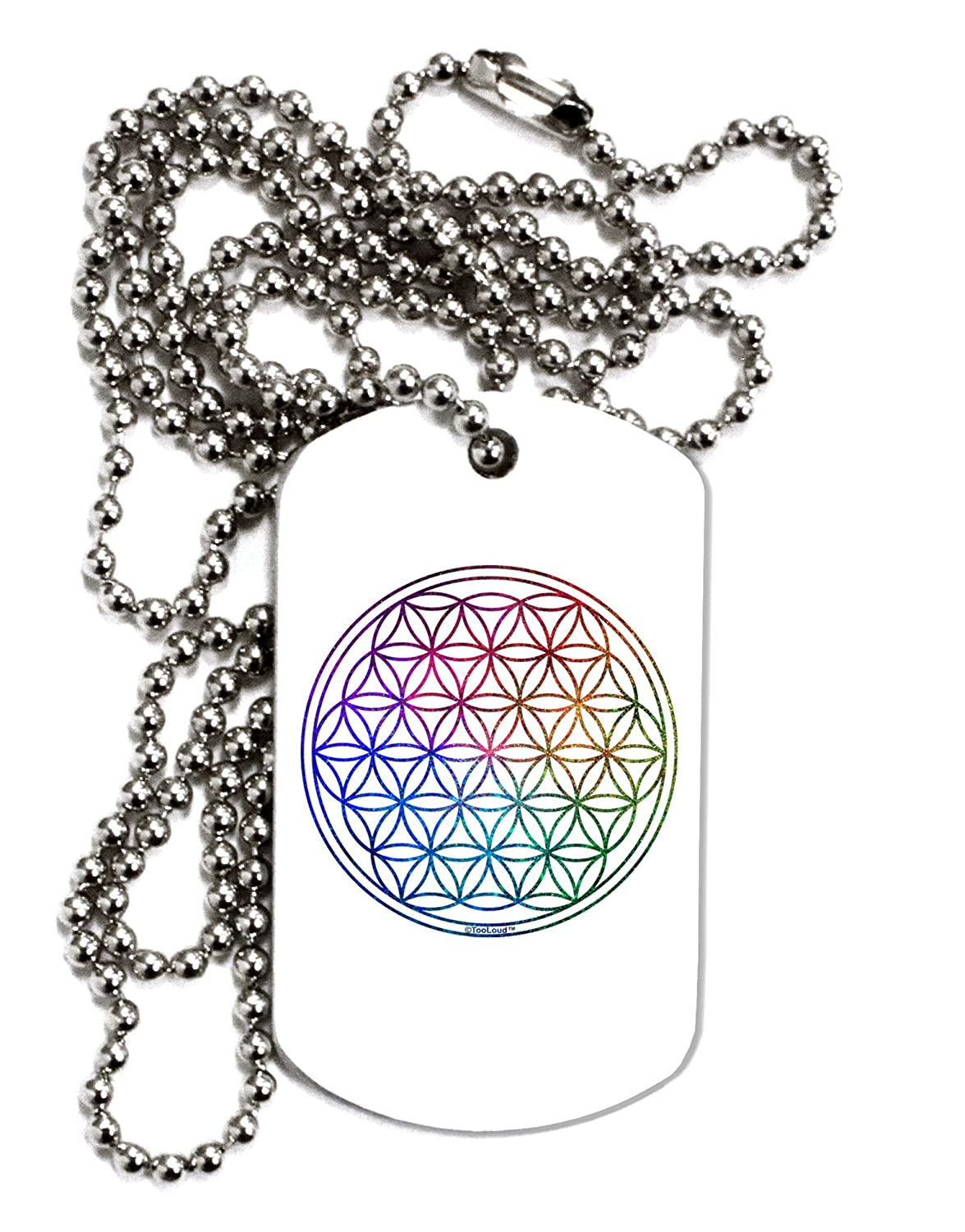 TooLoud Flower of Life Circle Adult Dog Tag Chain Necklace