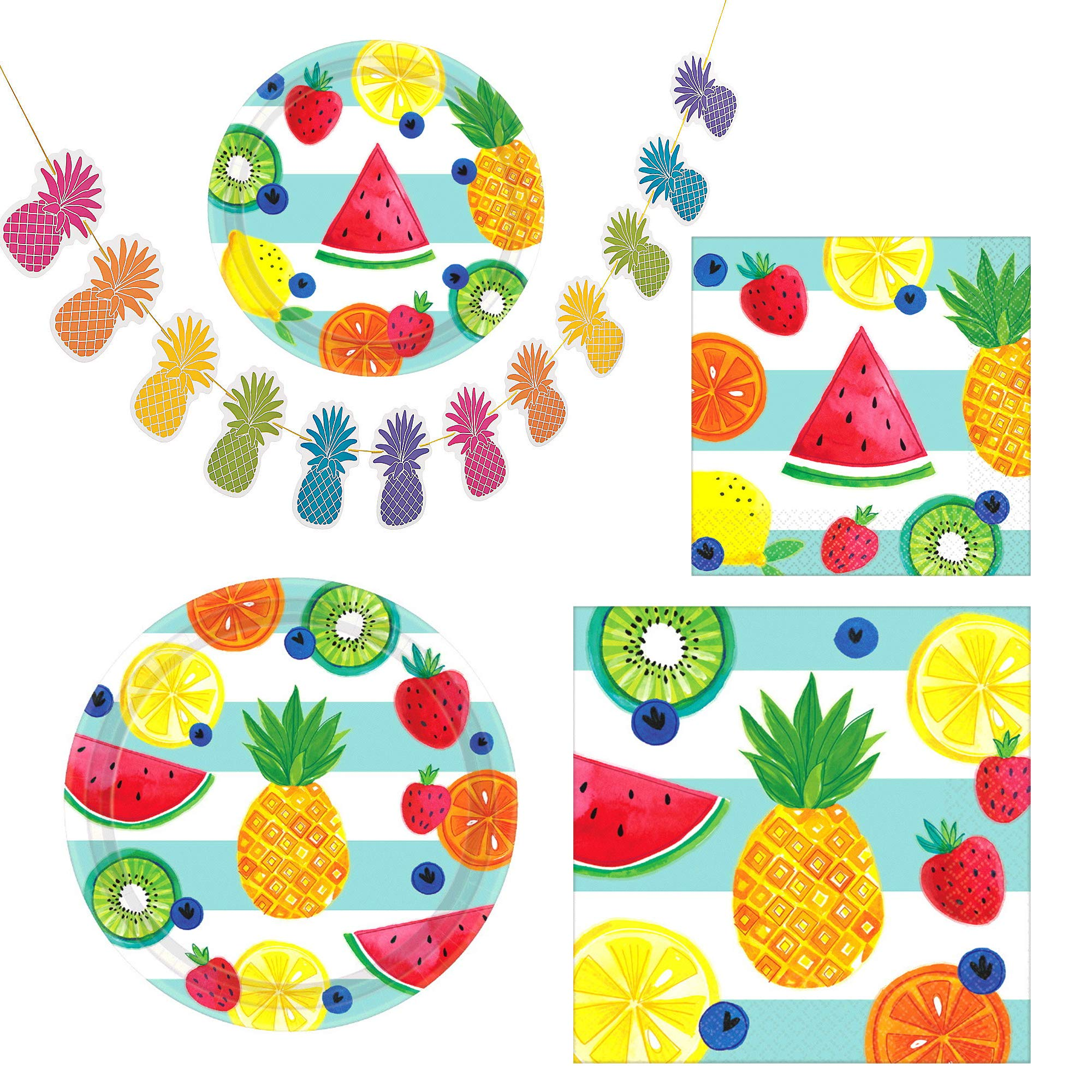 Fun Express Hello Summer Party Bundle | Luncheon & Beverage Napkins, Dinner & Dessert Plates, Garland | Great for Luau Themed Party, Kids Birthday Party, Hawaiian, Beach, Pool, Tutti Frutti Party