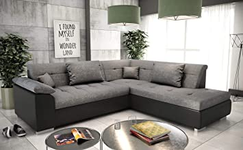 tendencio canape d angle convertible en lit lito assise en tissu gris et contour en simili cuir noir