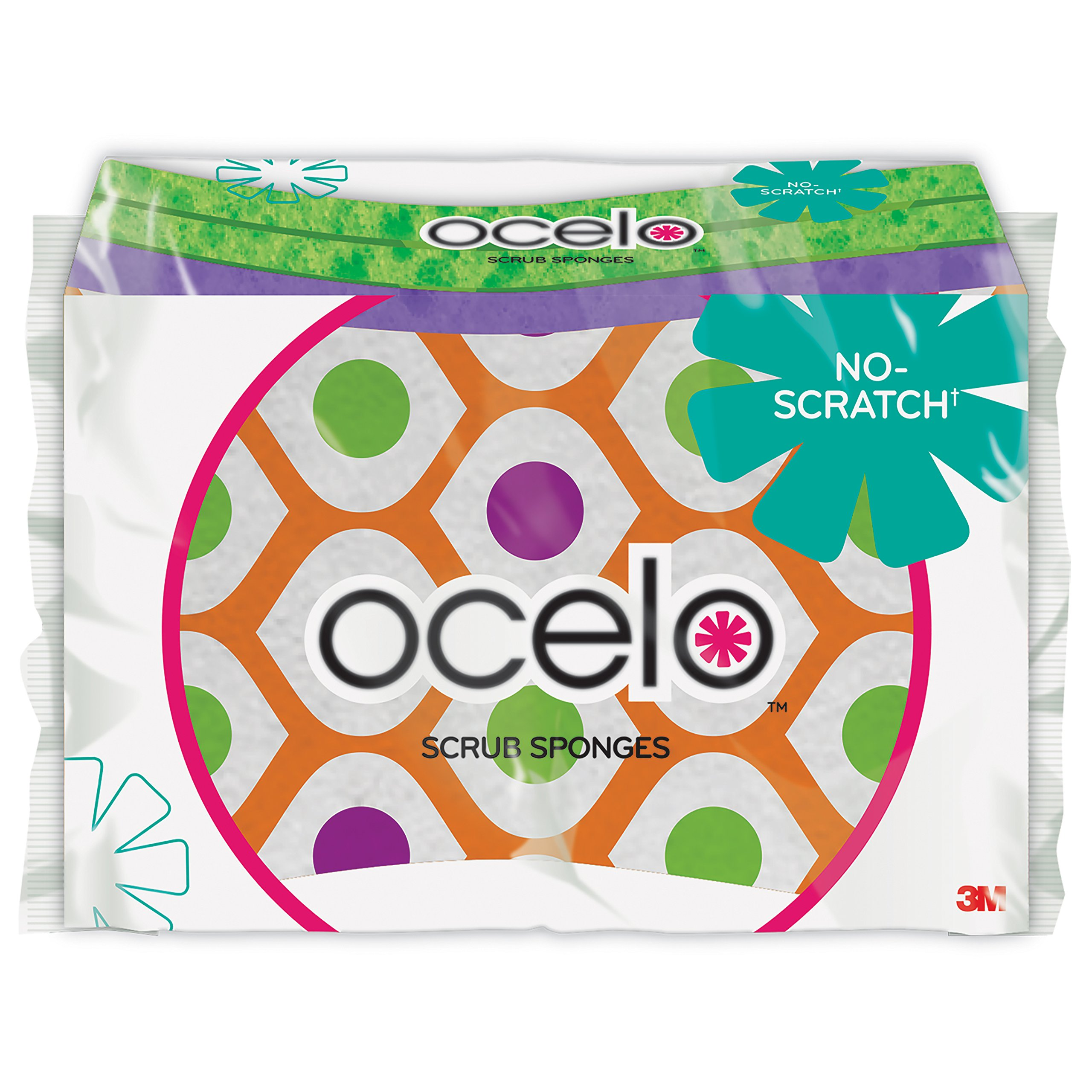 ocelo Light Duty No-Scratch Scrub Sponge,  colors and patterns may vary, 3 Sponges/Pk, 4-Packs (12 Sponges Total)