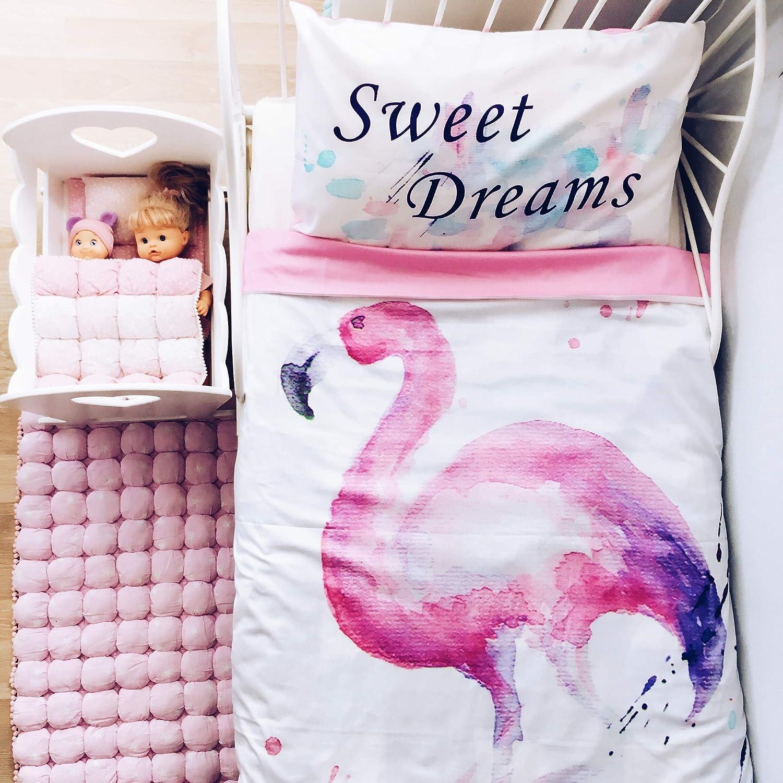 Image of Flamingo twin duvet cover for girl. Flamingo decor, kids room decor