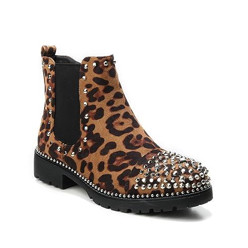 on sale 9edd1 64e85 HERIXO Damen Schuhe Stiefeletten Nieten Spikes Chelsea Boots  Leopardenmuster Leo Tiger-Muster
