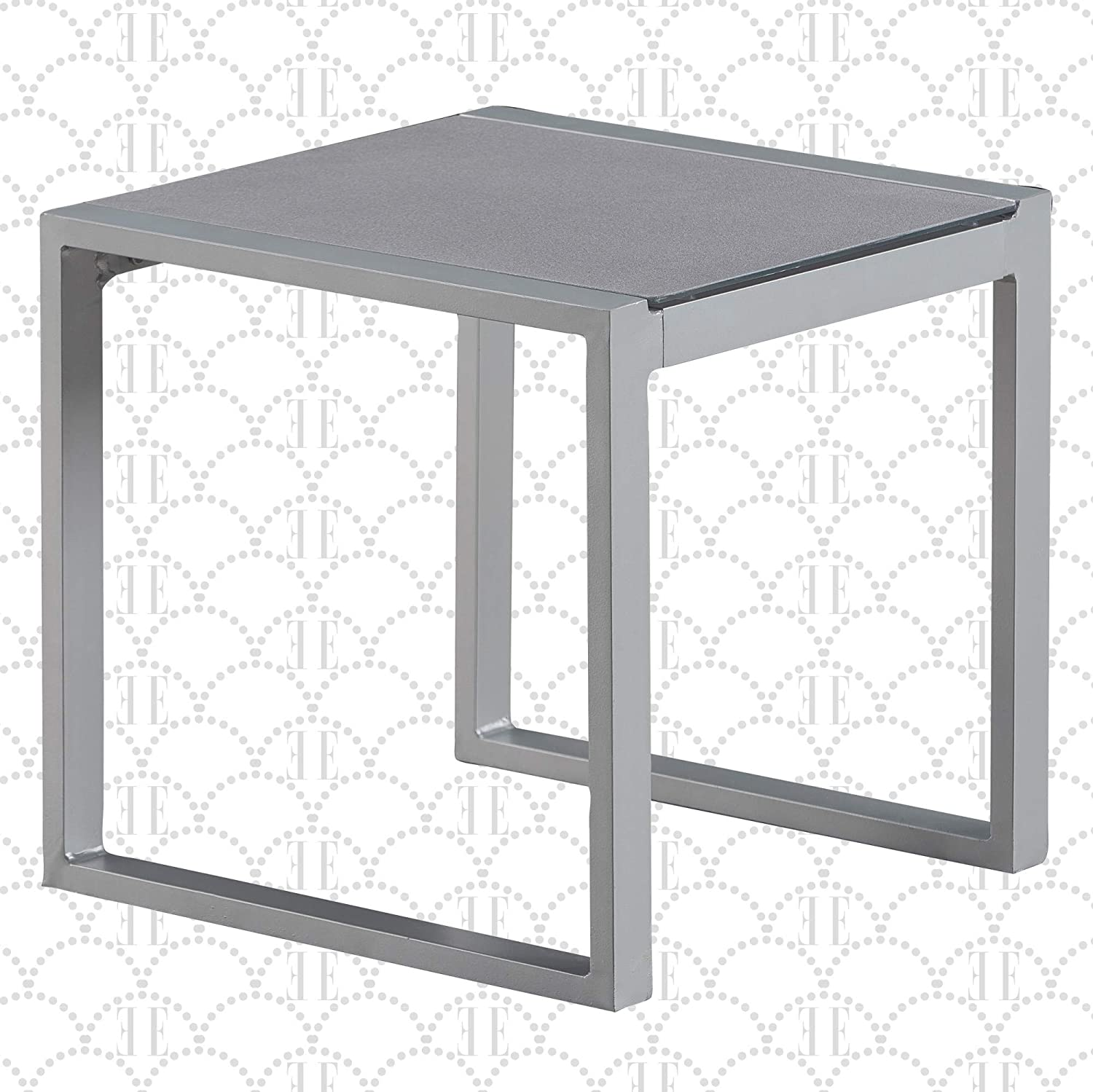 Elle Decor Tropez Mesh Outdoor Patio Furniture Collection with Metal Frame Side Table, Gray