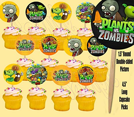 Plants vs Zombies Cupcake Wrappers/&Toppers kids Birthday party decoration