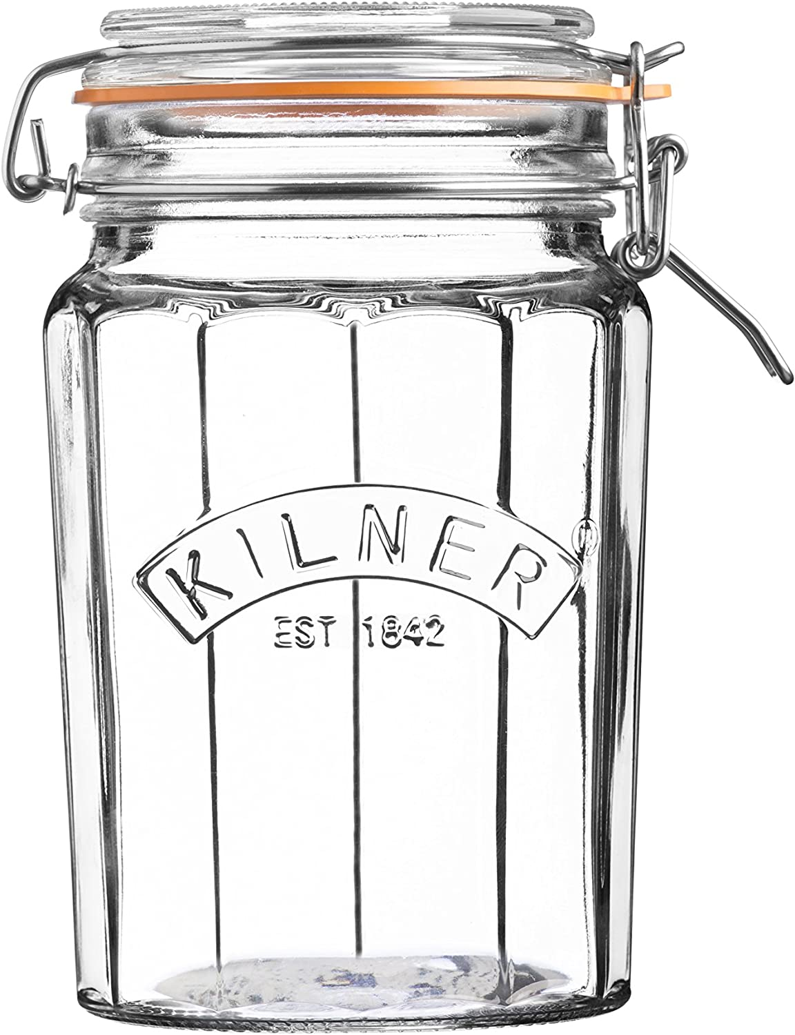 Kilner Glassware Facetted Clip Top Jar, Airtight Seal for Pickling, Preserving, and Storing, 33-1/2-Fluid Ounces