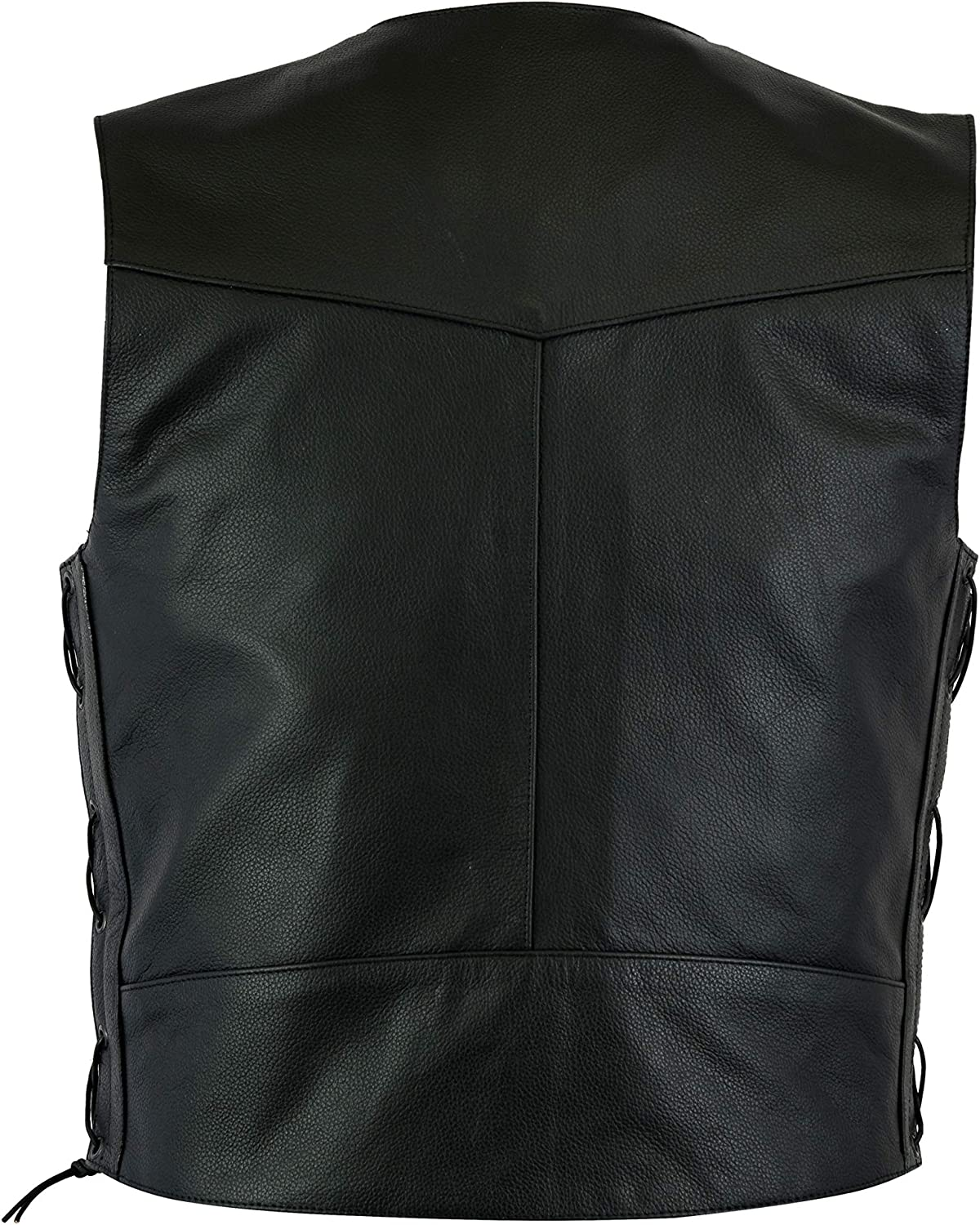 Mens Black Quality 4 Pocket Leather Motorcycle Biker Classic Waistcoat S to 14XL