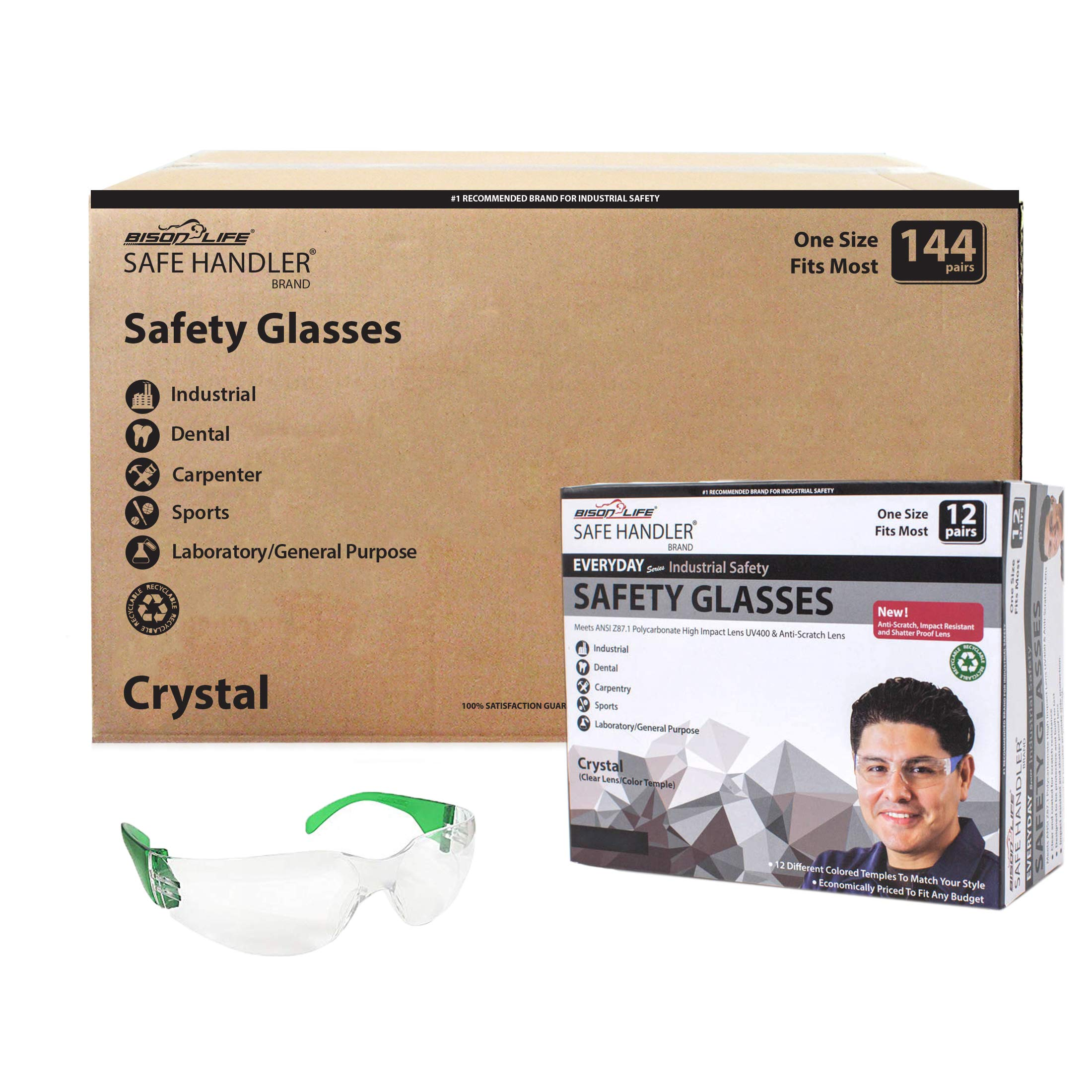 SAFE HANDLER Protective Safety Glasses, Clear Polycarbonate Impact and Ballistic Resistant Lens - Green Temple (Case of 12 Boxes, 144 Pairs Total)