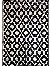 5'x7' indoor outdoor patio rugs mats camping Reversible mats Dark Nv Blue 4477