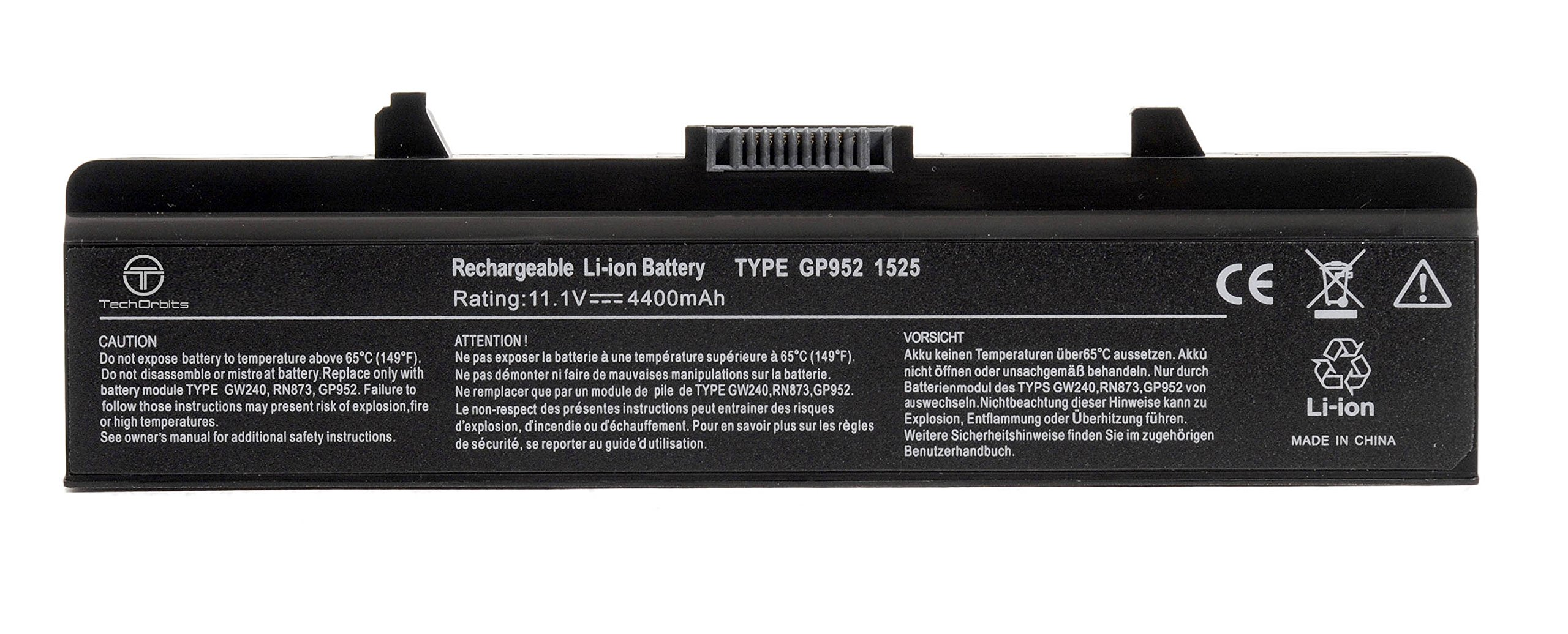 TechOrbits New Laptop Battery for Dell Inspiron 1525 1526 1545 1546 1750 1440 PP29L PP41L, Fits P/N X284G M911 M911G GW240 GP952 RN873 K450N RU586 C601H 312-0844 - 3 Years Warranty [Li-ion 6-cell] by TechOrbits