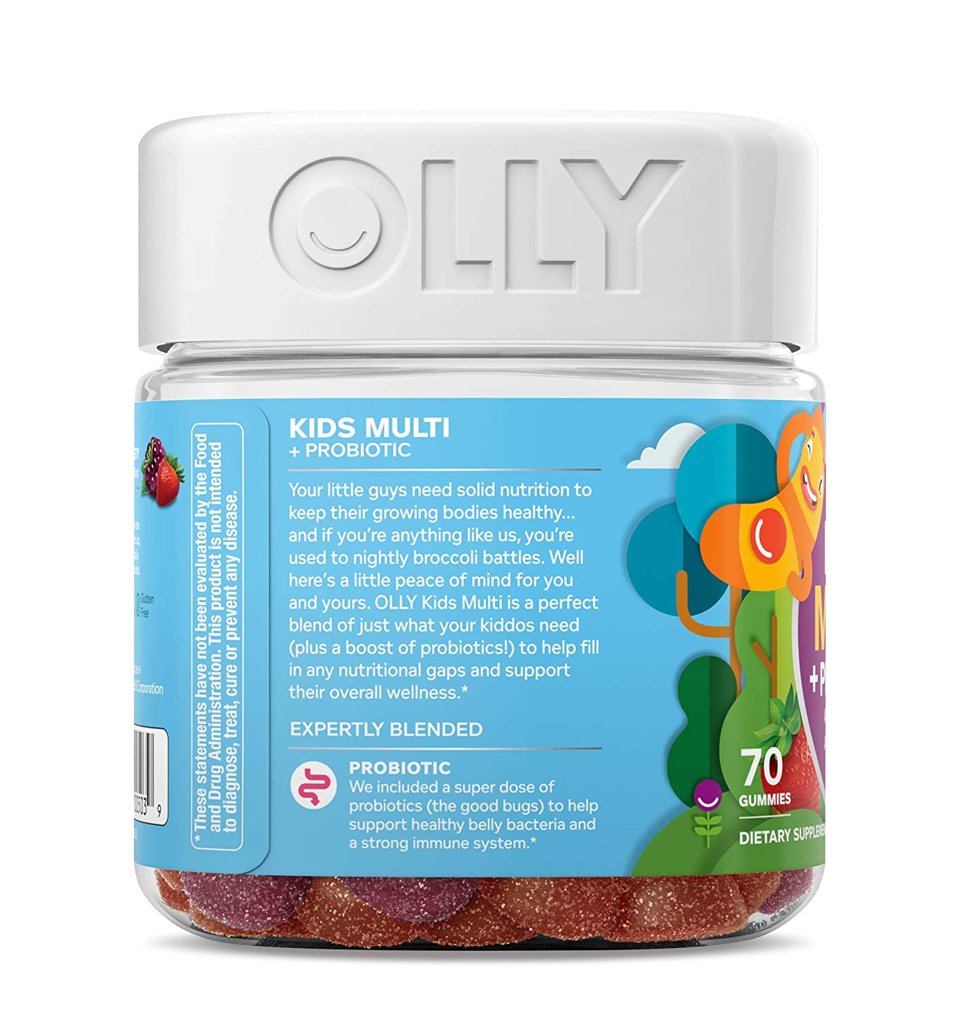 Olly Kids Multivitamin Probiotic Gummy Supplement With Wellness 70 Zinc Probiotics Yum Berry Punch Gummies 35 Day Supply Health Personal Care