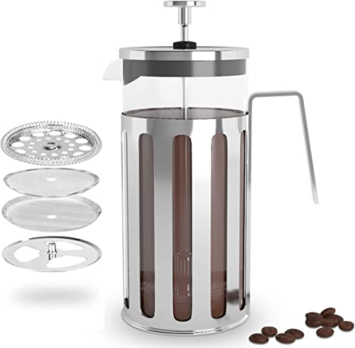 Bear Naked Brew French Press Coffee Maker, 12 oz Portable French Press, Durable Heat Resistant Glass, Stainless Steel Multi-Screen Filtration, Double Wall Protection, Single Serve Mini French Press