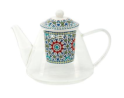 Tetera de cristal con filtro de porcelana, diseño, Marruecos ...