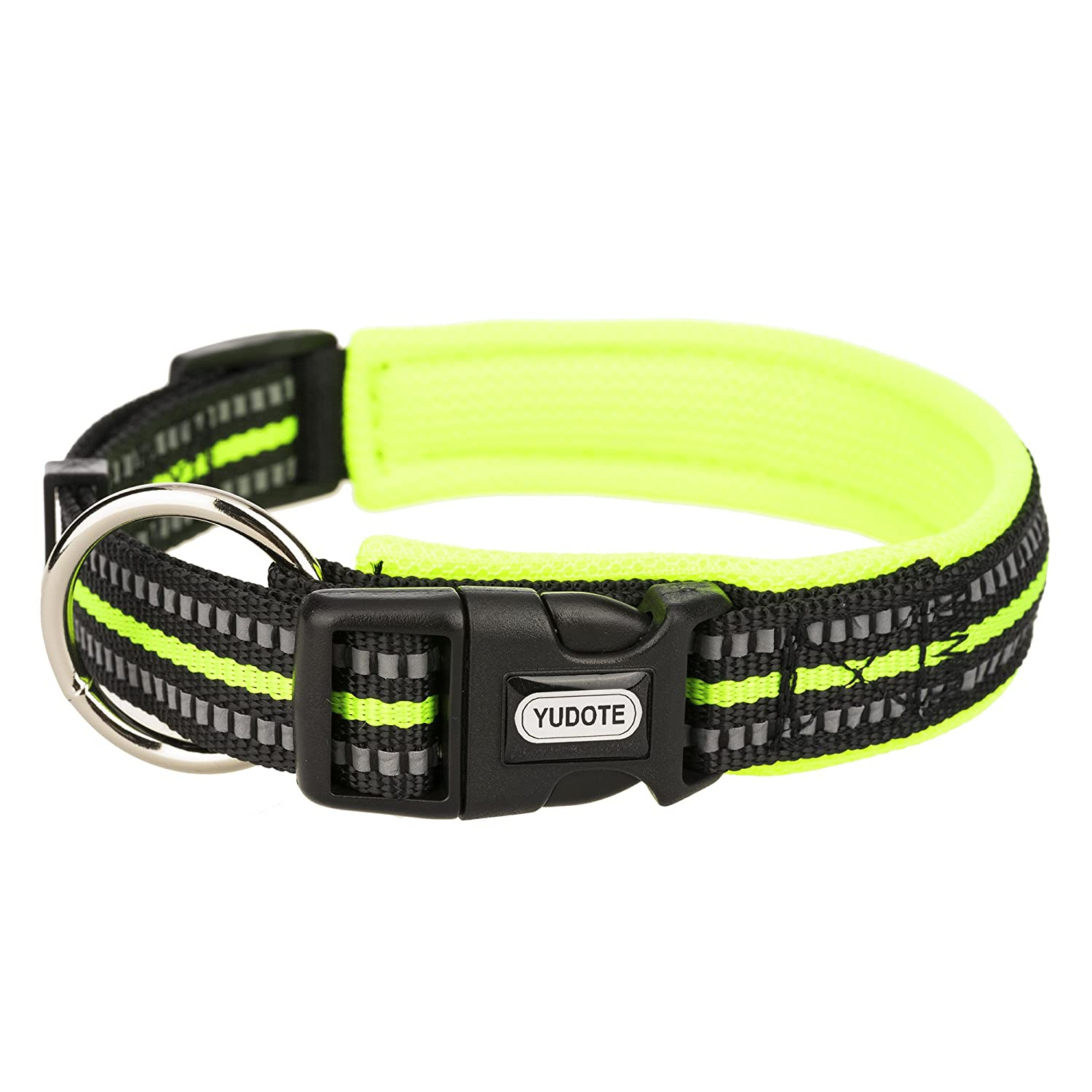 Shiny green Medium(Neck 13.7\ Shiny green Medium(Neck 13.7\ YUDOTE 3M Reflective Dog Collars, Nylon Collar Soft Mesh Padded 4 colors Adjustable Seatbelt Pets Outdoor & Night Safety Green Medium