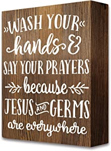 akeke Wash Your Hands Farmhouse Funny Quotes Bathroom Wooden Box Signs Plaque Decor
