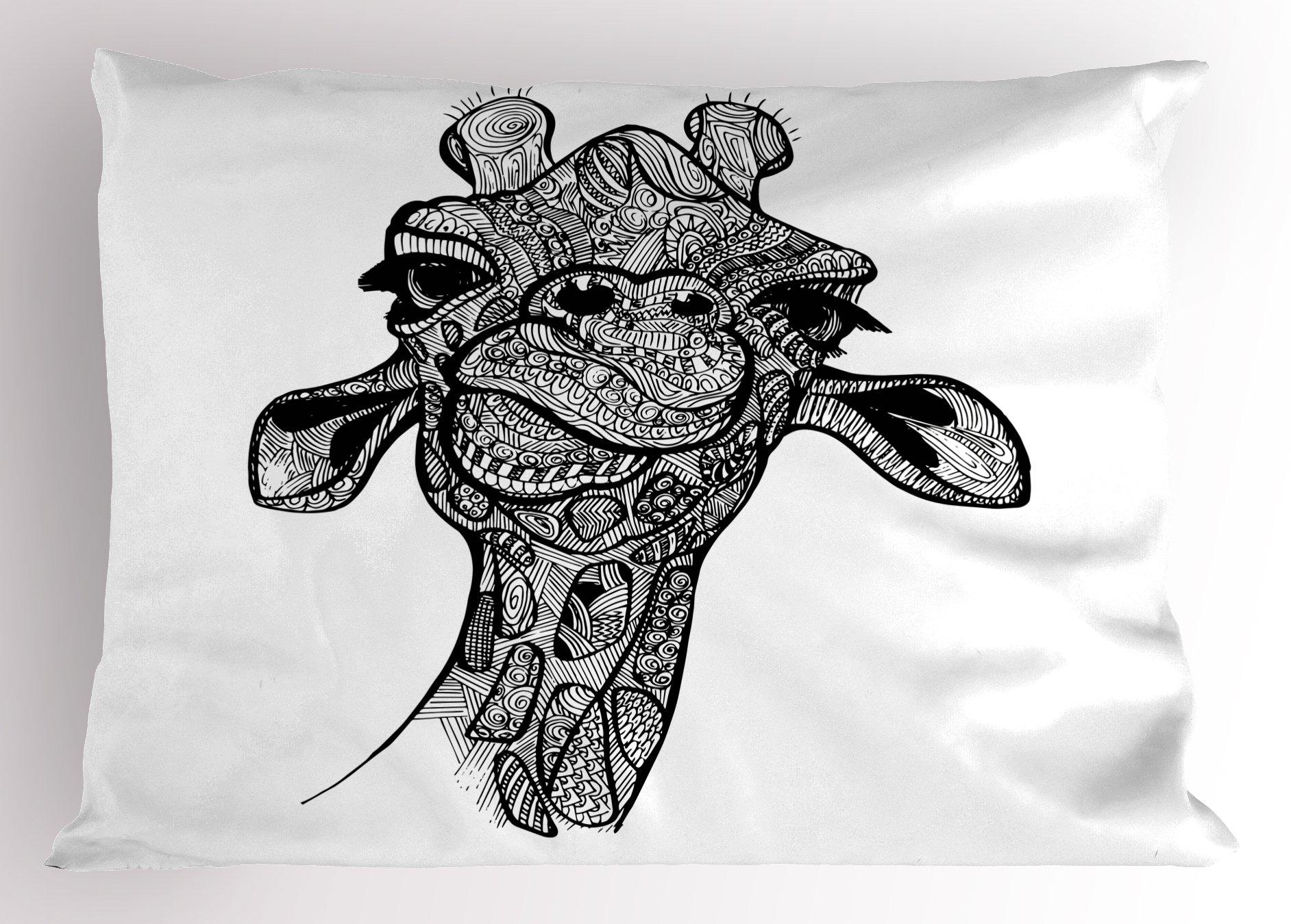Lunarable Giraffe Pillow Sham, Line Patterned Cute Funny Animal Geometrical Circles and Swirls Design Monochrome, Decorative Standard King Size Printed Pillowcase, 36 X 20 Inches, Black White