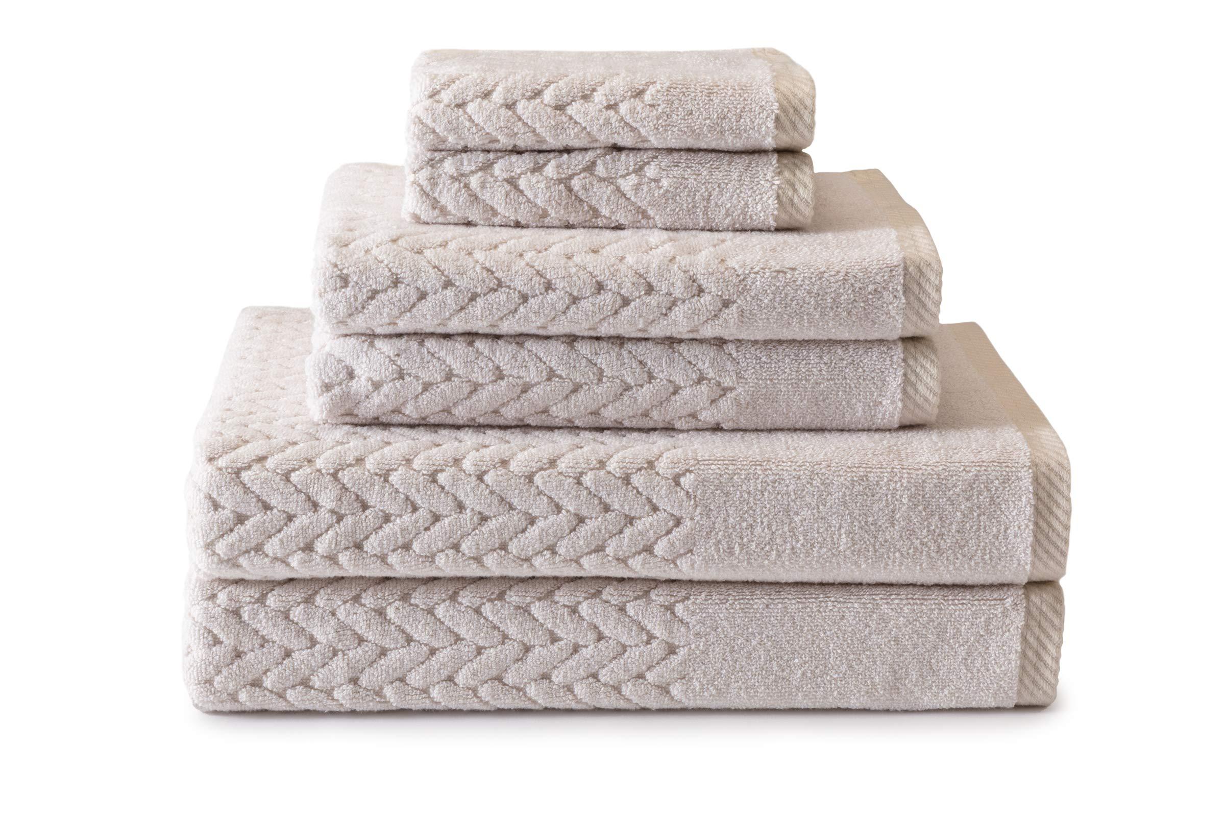 Texere 100% Organic Cotton 6-Piece Towel Set - Luxury Bath Towel (Chestnut, 6-Piece Set, Birch) Best Housewarming Gift TX-HC263-002-BRCH-R-6