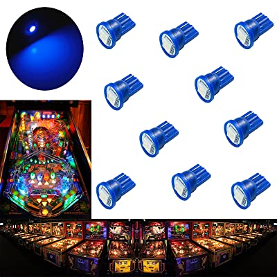PA 10PCS #555 T10 1SMD LED Wedge Pinball Machine Light Top View Bulb Blue-6.3V: Toys & Games