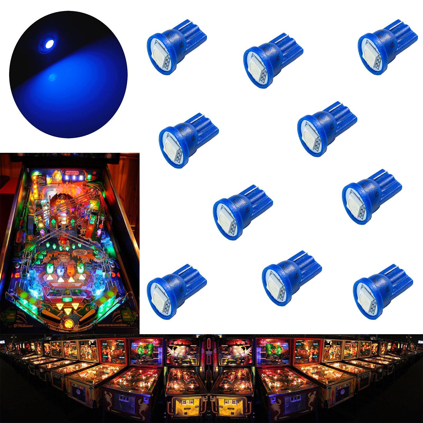 PA 10PCS #555 T10 1SMD LED Wedge Pinball Machine Light Top View Bulb Blue-6.3V
