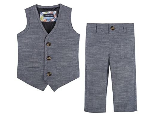 02ad6b817948 Amazon.com  Andy   Evan Big Boys  Chambray Vest   Pant Set in Blue ...