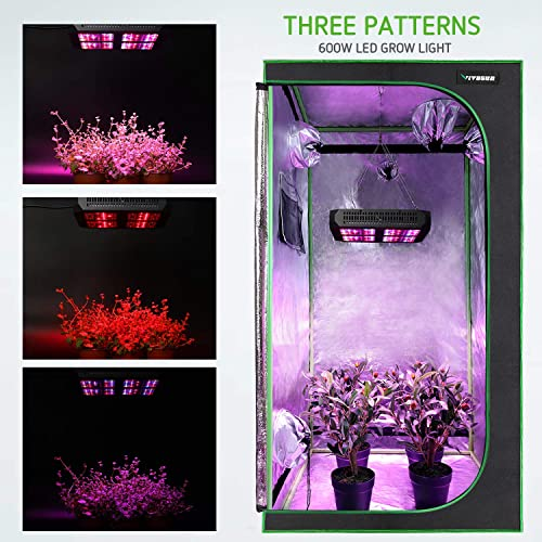 VIVOSUN 48 X48 X 80 Hydroponic Grow Tent 600W LED Grow Light for Indoor Plants Veg and Flower