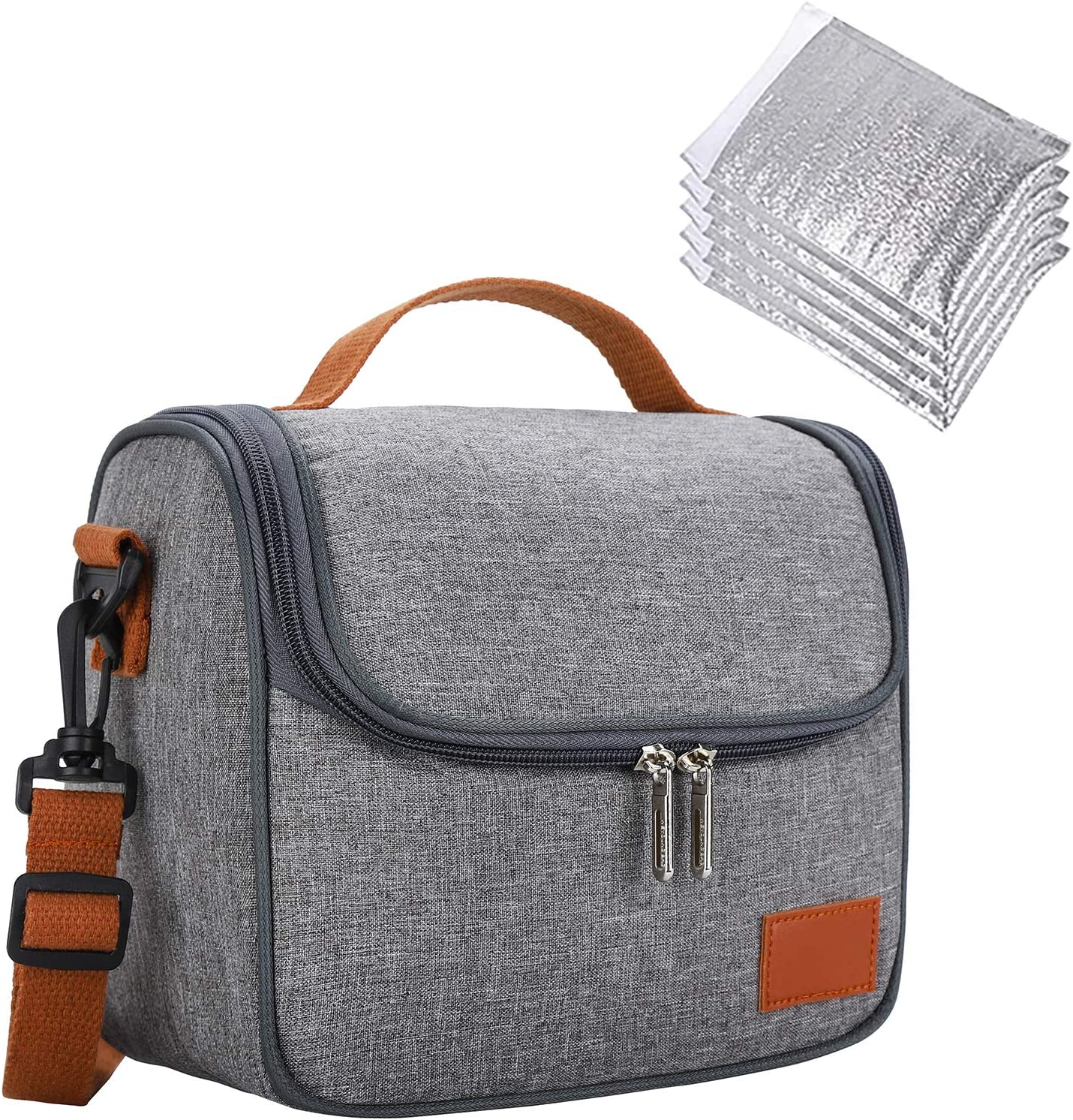 QLS Lunch Bag Lunch Box Insulated Reusable with 5 Thermal Large Tote Adjustable Shoulder Strap Waterproof Soft Outdoor Keeps Warm or Cold Handle Adult Women/Men/Kids/Picnic/Work/School/Gray