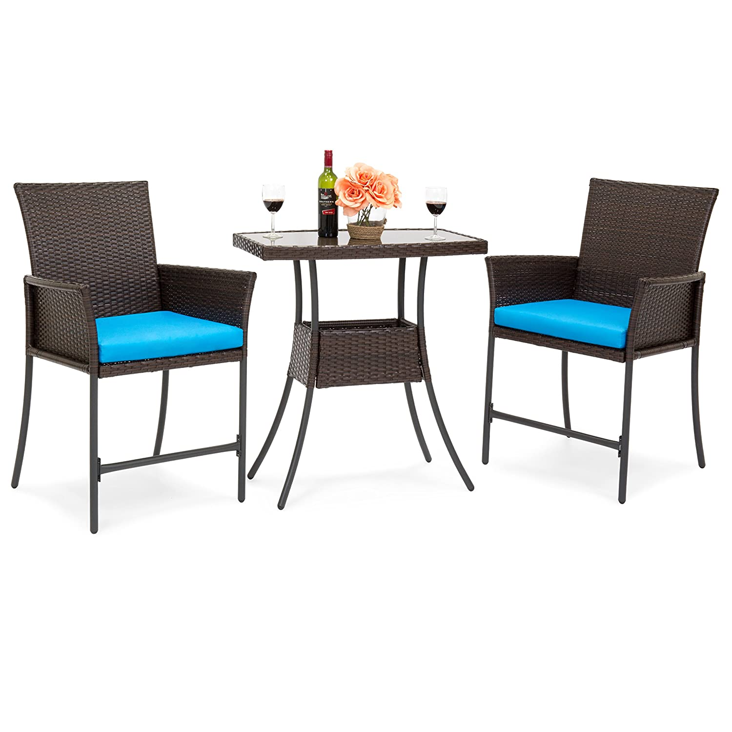 Care 4 home llc 3 piece patio bistro dining set square table and 2 padded chairs durable wicker construction with steel frame outdoor furniture