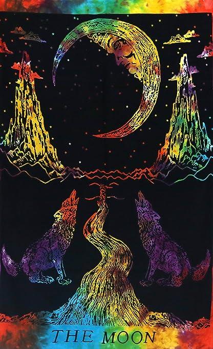 Hippie Bohemio La Luna Y Lobos Multi Tono De Color Mandala Colgante