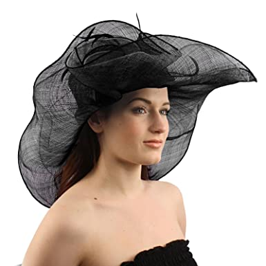 9085e40ab39d5 SK Hat shop Summer Kentucky Derby 6-1 2 Brim Layer Floppy Rose Floral  Feathers Hat Black at Amazon Women s Clothing store