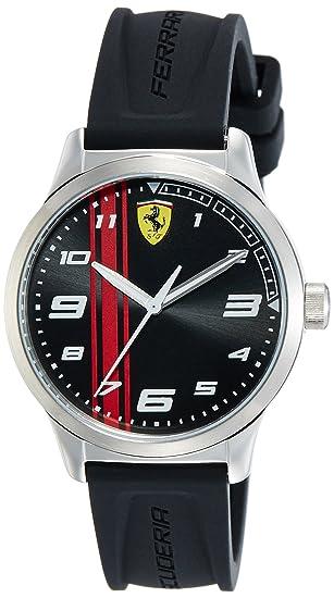 codice promozionale 50eba cd140 Scuderia Ferrari Orologio da Uomo/Ragazzo Analogico al Quarzo con Cinturino  in Silicone Nero 0810015