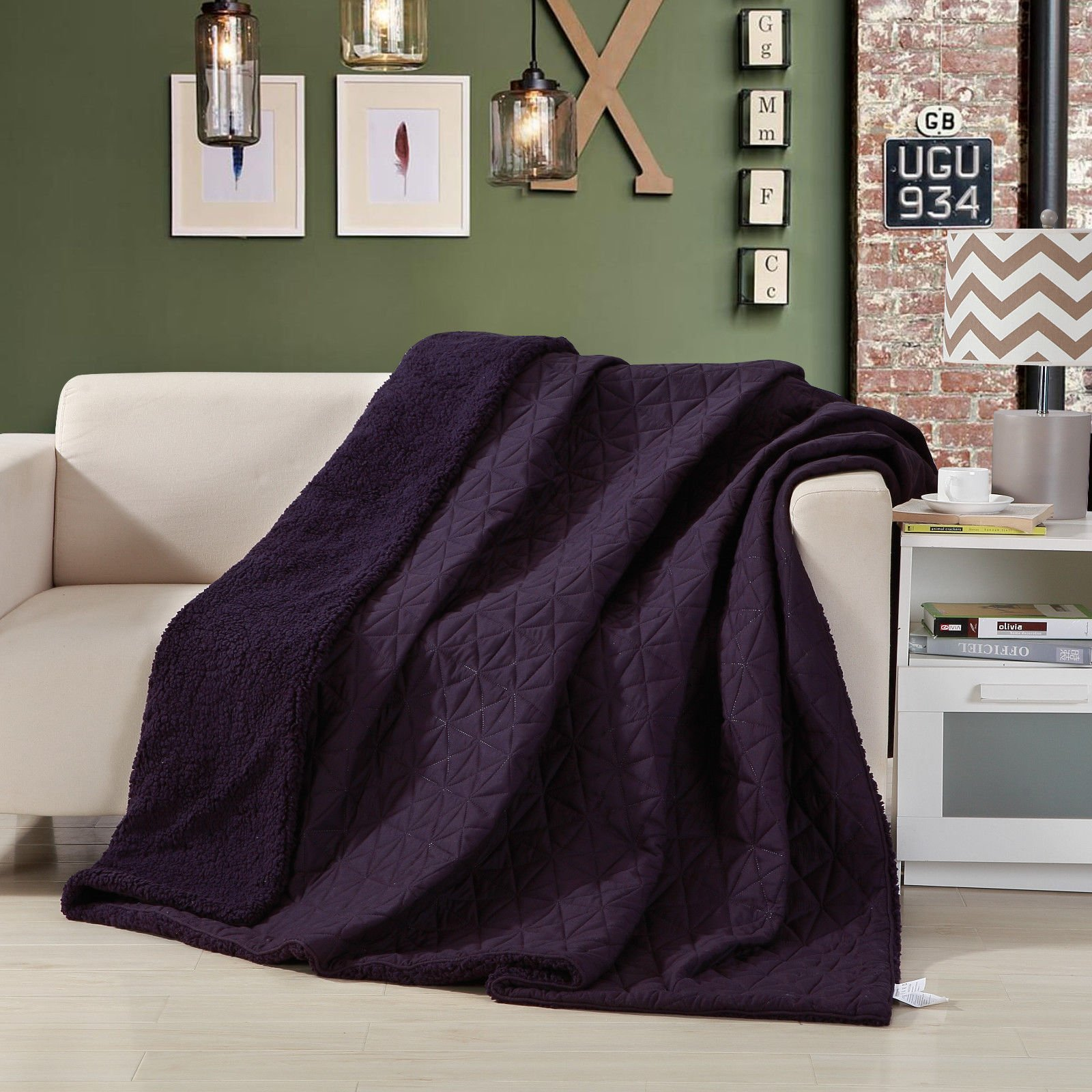 DaDa Bedding Eggplant Aubergine Reversible Soft Stitched Print with Sherpa Backside Textured Quilted Ultra Sonic College Dorm Throw Blanket Coverlet Bedspread, Purple, Twin