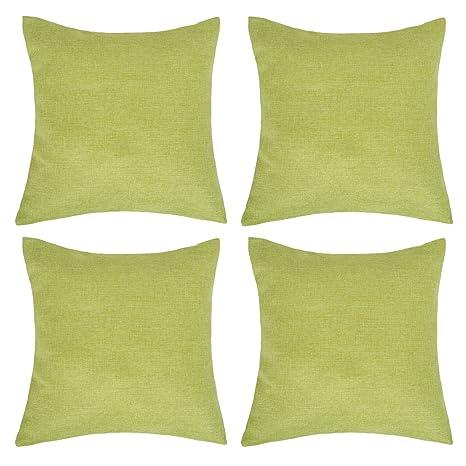 Deconovo Fundas de Cojín Decorativas 45 x 45 cm para Sofá Cama y Silla Efecto Lino con Cremallera Oculta Conjunto de 4 Verde Olivo