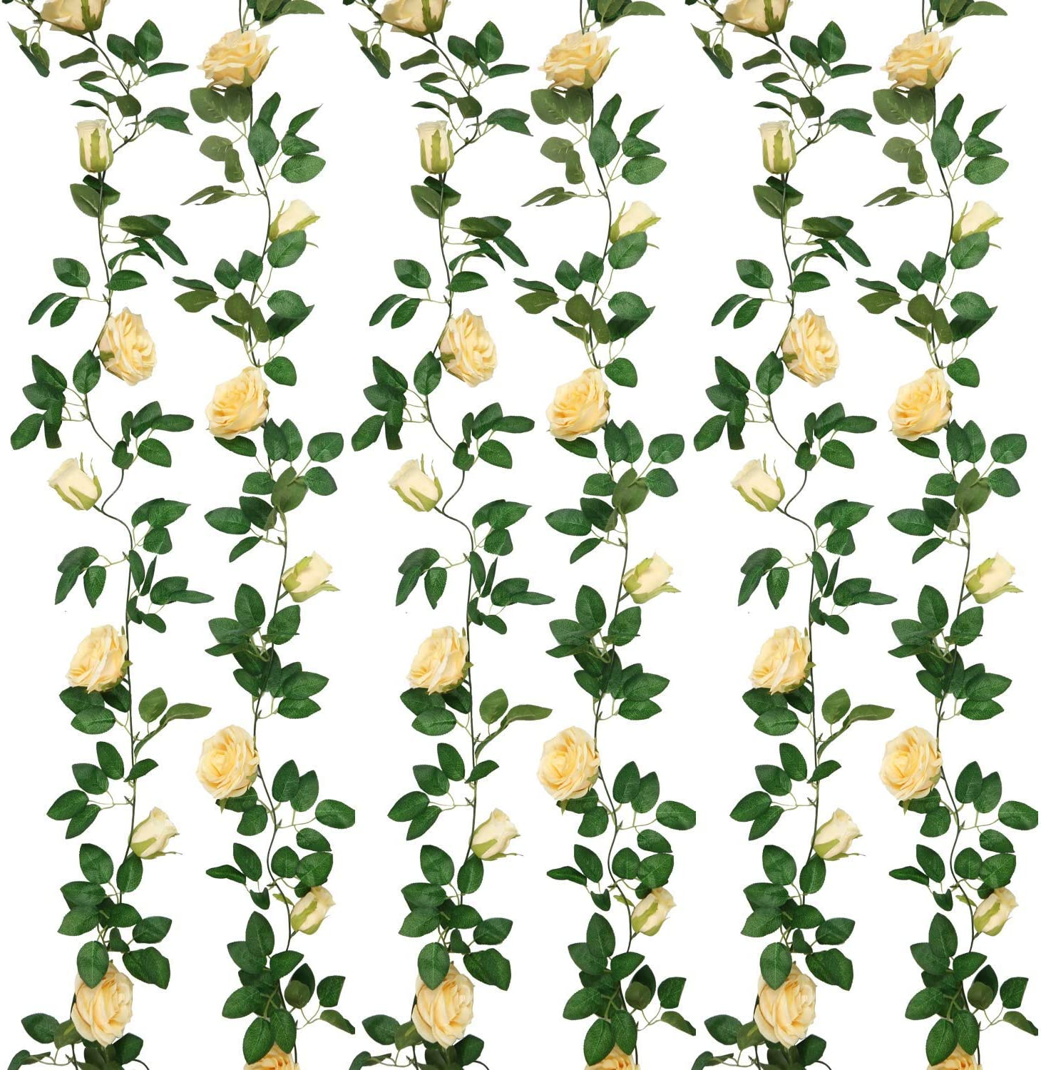 SHACOS Artificial Rose Garlands Rose Vines Leaves Hanging Rose Flower Vine Home Wedding Party Decor (Deep Champagne, 4)