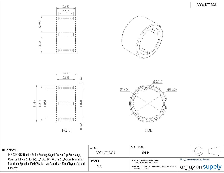 "SCH1612 Needle Bearing 1/""x1 5//16/""x3//4/"" inch BHA1612ZOH Needle Bearings"