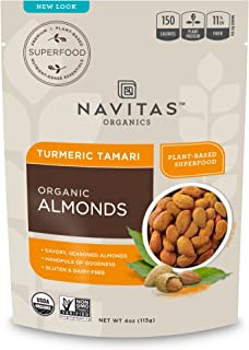 product image for Navitas Organics Turmeric Tamari Almonds, 4 oz. Bags, 4 Servings (12 Pack) — Organic, Non-GMO, Gluten-Free, Refined Sugar-Free