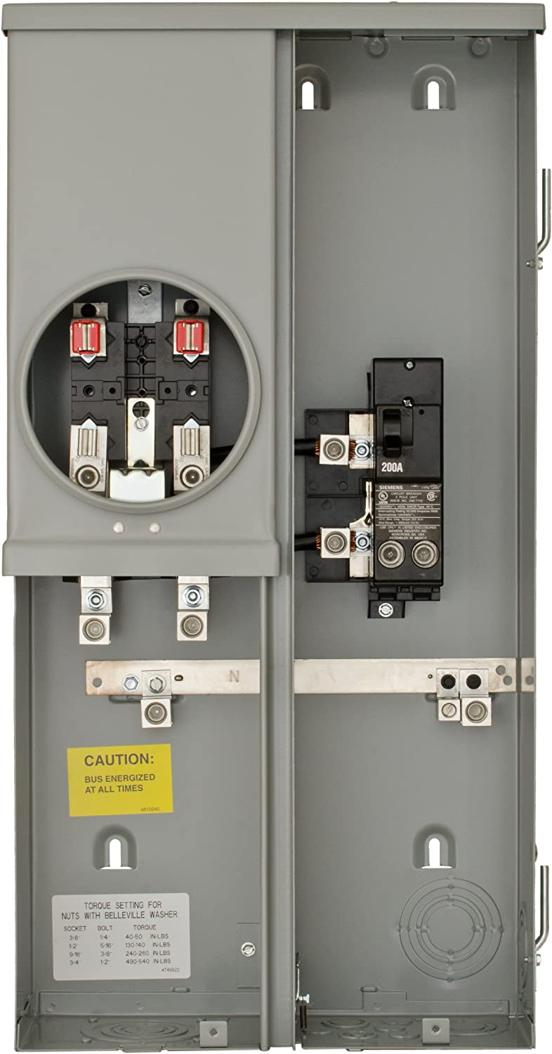 Siemens MM0202B1200ESC 200-Amp Surface Mount Meter Main Breaker Combination with Ring Type Cover