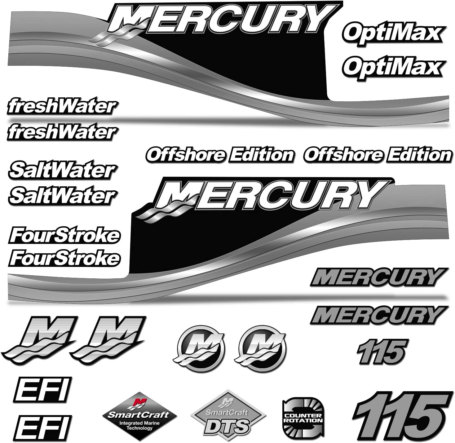 Mercury 25 Four 4 Stroke Decal Kit Outboard Engine Graphic Motor Stickers TEAL