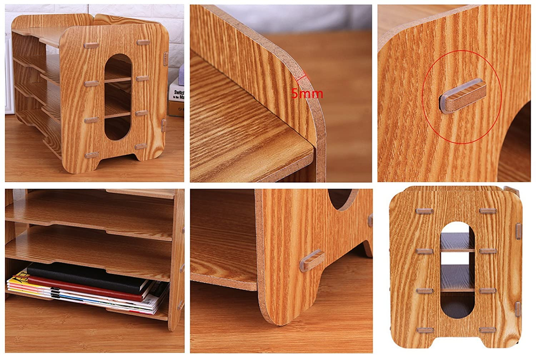 Elonglin organiseur bureau bois set de rangement diy livre