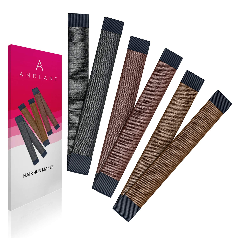Women's Hair Bun Maker French Twist Hair Fold Wrap Snap by Andlane (1 Black, 1 Brown, 1 Light Brown)