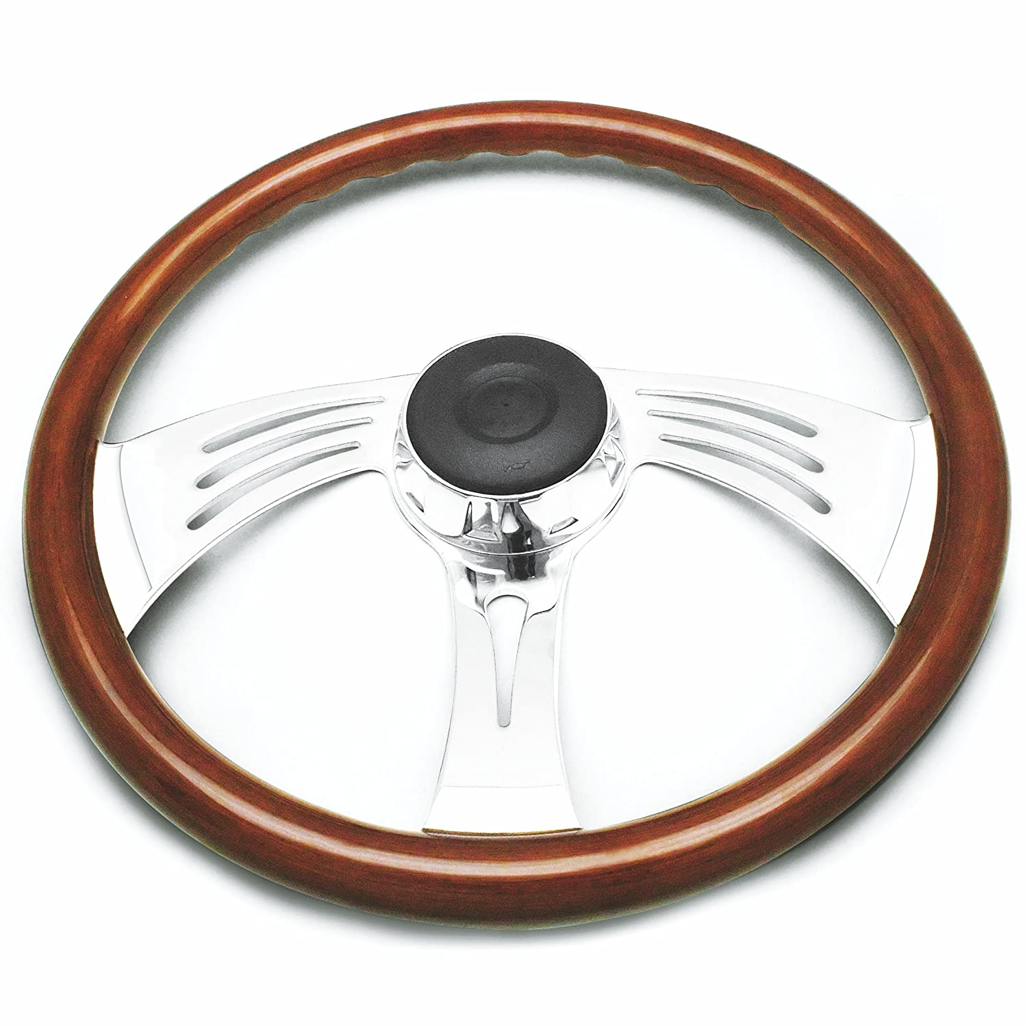 Beautiful African Hardwood Woody/'s Woodys WP-SWPB8693.2W Rosewood Chrome Truck Steering Wheel