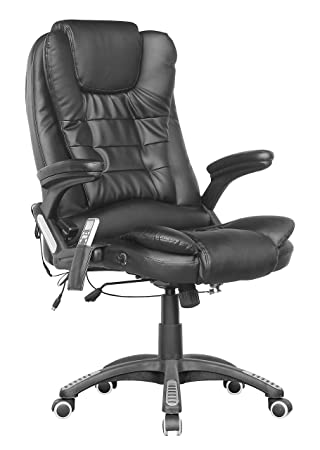 westwood luxury leather 6 point massage office computer chair reclining high back black new