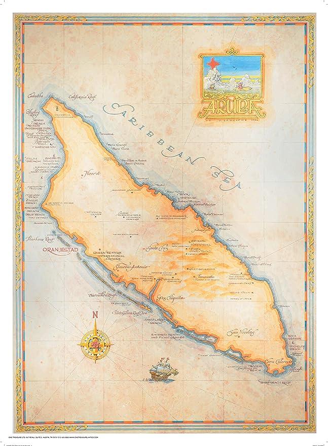 One Treasure Limited Antique Vintage Old World Caribbean Aruba Map Abc Islands Prints Posters Prints Amazon Com