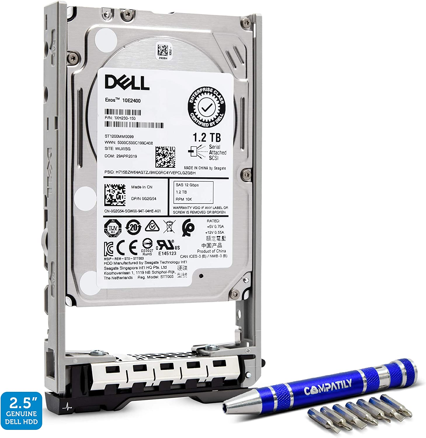 """Dell 400-AJPD 1.2TB 10K SAS 12G 2.5""""   0G2G54 ST1200MM0099 Exos 10E2400   PowerEdge HDD Enterprise Hard Drive in 13G Tray Bundle with Compatily Screwdriver Compatible with 463-7475 89D42 R730 T310"""